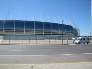 Zulma frente al Arena Castelao en Fortaleza